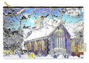 Psychedelic English Village Church In Winter Carry-all Pouch