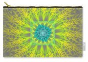 Psychedelic Spiral Vortex Yellow And Gray Fractal Flame Carry-all Pouch
