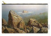 Puffins On Lundy Island Oil On Canvas Carry-all Pouch