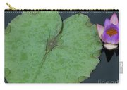 Puple Lily And Pad With Raindrops Carry-all Pouch