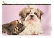 Puppy And Kitten Carry-all Pouch by Greg Cuddiford