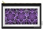 Purple Abstract Flower Garden - Kaleidoscope - Triptych Carry-all Pouch