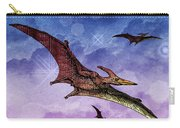 Purple And Green Ptreodactyls Soaring In The Sky Carry-all Pouch