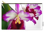 Purple And White Cattleyas Against White Space Carry-all Pouch
