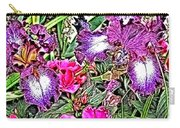 Purple And White Irises And Pink Flowers Carry-all Pouch