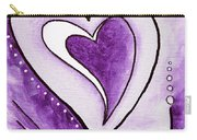 Purple Heart Love Painting Pop Art Blessed By Megan Duncanson Carry-all Pouch by Megan Duncanson
