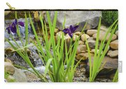 Purple Irises Growing In Waterfall Carry-all Pouch