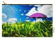 Purple Umbrella In A Field Of Corn Carry-all Pouch by Bob Orsillo