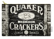 Quaker Crackers Rustic Sign For Kitchen In Black And White Carry-all Pouch by Lisa Russo
