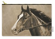 Racehorse Painting In Sepia Carry-all Pouch