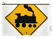 Railroad Crossing Steam Engine Roadsign On White Carry-all Pouch