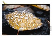 Rain Drops On Autumn Birch Leaf Carry-all Pouch