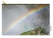 Rainbow From Spray Of Lower Yellowstone Falls Against Yellowstone Canyon Wall-wyoming  Carry-all Pouch