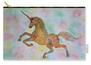 Rainbow Unicorn In My Garden Original Watercolor Painting Carry-all Pouch