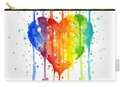 Rainbow Watercolor Heart Carry-all Pouch