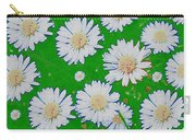 Raining White Flower Power Carry-all Pouch