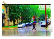 Rainy Days And Mondays Girl Running With The Blue Umbrella Montreal Art City Scenes Carole Spandau Carry-all Pouch