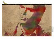 Rajesh Raj Koothrappali Big Bang Theory Watercolor Portrait On Distressed Worn Canvas Carry-all Pouch