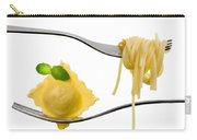 Ravioli Pasta Parcel And Spaghetti On Fork White Background Carry-all Pouch