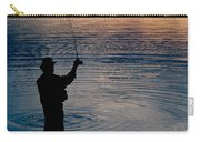 Rear View Of Fly-fisherman Silhouetted Carry-all Pouch