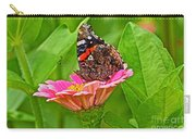 Red Admiral Butterfly And Zinnia Flower Carry-all Pouch