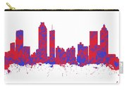 Red And Blue Art Print Of The Skyline Of Atlanta Georgia Usa Carry-all Pouch