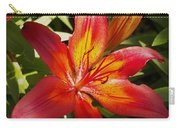 Red And Orange Lilly In The Garden Carry-all Pouch