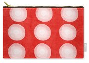 Red And White Shibori Circles Carry-all Pouch