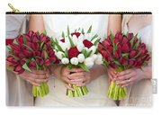 Red And White Tulip And Rose Wedding Bouquets Carry-all Pouch