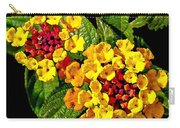 Red And Yellow Lantana Flowers With Green Leaves Carry-all Pouch