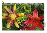 Red And Yellow Lilly Flowers In The Garden Carry-all Pouch