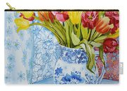 Red And Yellow Tulips In A Copeland Jug Carry-all Pouch by Joan Thewsey