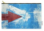 Red Arrow Painted On Blue Wall Carry-all Pouch