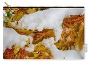 Red Autumn Maple Leaves With Fresh Fallen Snow Carry-all Pouch