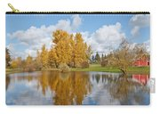 Red Barn And Fall Colors Reflected In A Pond Carry-all Pouch