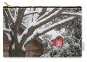 Red Barn Birdhouse On Tree In Winter Carry-all Pouch