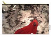 Red Bird In A Snow Covered Tree Carry-all Pouch