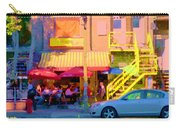 Red Bistro Umbrellas Cafe Cote Soleil Rue St Denis Yellow Staircase Montreal Scenes Carole Spandau Carry-all Pouch