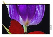Red Butterfly And Purple Tulip Carry-all Pouch