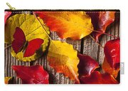 Red Butterfly In Autumn Leaves Carry-all Pouch