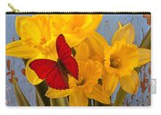 Red Butterfly On Daffodils Carry-all Pouch