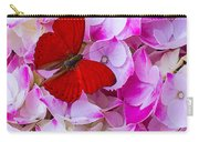 Red Butterfly On Hydrangea Carry-all Pouch
