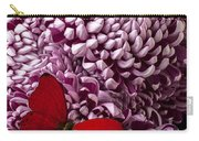 Red Butterfly On Red Mum Carry-all Pouch