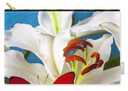 Red Butterfly On White Tiger Lily Carry-all Pouch