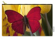 Red Butterfly Resting On Tulips Carry-all Pouch