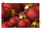 Red Christmas Baubles Carry-all Pouch by Anne Gilbert