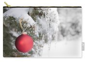 Red Christmas Ornament On Icy Tree Carry-all Pouch