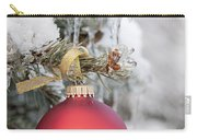 Red Christmas Ornament On Snowy Tree Carry-all Pouch