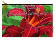 Red Day Lily And Quote Carry-all Pouch