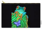 Red-eyed Tree Frog And Butterfly Carry-all Pouch
